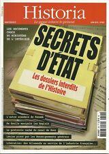 HISTORIA N° 822 / SECRETS D'ETAT LES DOSSIERS INTERDITS DE L'HISTOIRE
