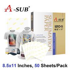 A-SUB 50 Sheets 8.5x11 Dye Sublimation Heat Transfer Paper Mugs Cotton Epson