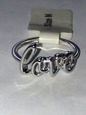 925 Silver Love Ring Size N