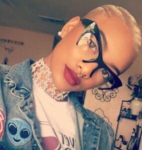 "Cateye ""Razoir"" Half Rim Women Eyeglasses Glasses Clear Lenses BLACK Shadz GAFAS"