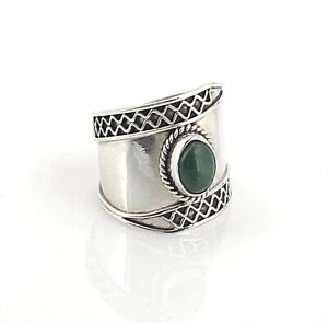 Vintage Sterling Silver & Malachite Decorative Trim Wide Band Ring, Size 6.5