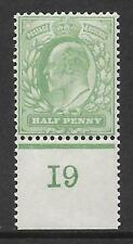 Sg 218 ½d Yellowish-Green Worn plate Control I9 perf De La Rue V.L MOUNTED MINT
