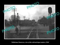 OLD LARGE HISTORIC PHOTO OF TULLAHOMA TENNESSEE THE RAILROAD DEPOT STATION c1940