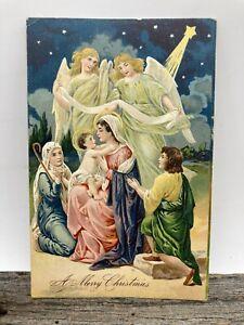 Antique Christmas Nativity Scene Postal Card w/ 1909 Connecticut Flag Cancel