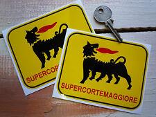 "SUPERCORTEMAGGIORE Car & Bike STICKERS 4.25"" Pair Lancia Aprilia Petrol Gas Agip"