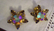 Pretty Vintage Gold Rhinestone Stars BEAUJEWELS Earrings