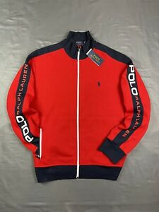 Polo Ralph Lauren Double Knit Tech Spell Out Zip Up Track Jacket Large Red