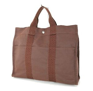 Authentic HERMES Her Line MM Brown Canvas Tote Handbag #73332