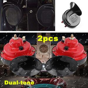 2Pcs 12V Loud Car Truck 105DB Dual-tone Snail Electric Air Horn Auto Universal
