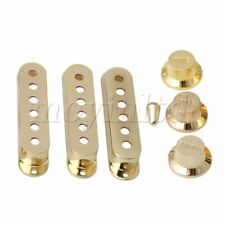 Guitars 6 Hole Single Coil Pickup Cover & 1V2T Knob Switch Tip Set of 3 Golden