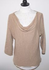Ann Taylor Cashmere Metallic Gold Cowl Neck Sweater L