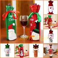 Red Wine Bottle Cover Bags Snowman Santa Claus Party Christmas Decor Sequins Lot