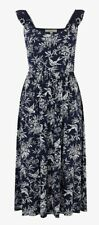 Ladies Oasis Bernie Bird Midi Blue Dress Medium - UK 12; EUR 40 RRP £38