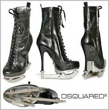$1895 DSQUARED2 8.5/39 SKATE MOSS Black Leather Skate Runway Ankle Boots