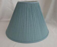 Blue Hardback Lamp Shade Mushroom Pleats Spider Attachment Made in USA