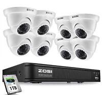 ZOSI H.265+ DVR  system 2MP CCTV Camera Home Security IR Night Vision  0-1TB HDD