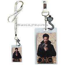ABC Disney Once Upon a time Captain HOOK Lanyard ID Card Pin Holder W/ Charm NEW