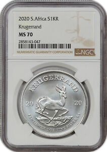 2020 SOUTH AFRICA SILVER S1KR KRUGERRAND NGC MS70 FINEST KNOWN GRADE