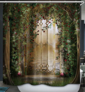 Gates Ivy Flowers Fabric SHOWER CURTAIN 70x70 w.Hooks Enchanted Magical