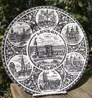 """Vtg Wood & Sons London England Tour Destinations 9 3/4"""" Plate Platter Pottery"""