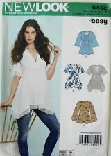 New Look 6452 Easy Misses Tunics Tops Sewing Pattern Sz 8-20