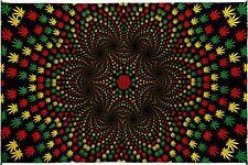 """3D Weed Vortex Tapestry Tablecloth Marijuana Pot Leaf Rasta Wall Art HUGE 60x90"""""""