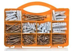 Brackit 206 Piece Wall Plugs Assortment Set Inc Screws & Case - Drywall Fixings