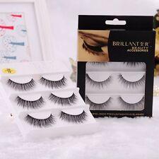 3pairs 3D Strip Faux 100% Handmade Fake False Eyelash Real Mink Fur Eyelashes