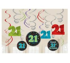 Happy 21st Birthday Hanging Dangling Foil Swirl Decorations (12 Pieces) - 671566