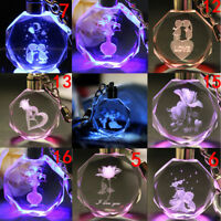 Fairy LED Crystal Rose Keychain Keyring Keyfob Key Ring Colorful Pendant Gifts