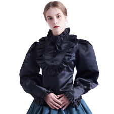 Victorian Women Ruffles Blouse Back Lace-Up Women Medieval Victorian Top