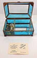 Via Vermont Floral Etch Glass-Brass Music /Trinket Jewelery Box Bach Minuet Blue