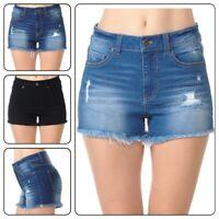 Wax Women's Juniors Stretchy Denim Jeans Shorts with Frayed  Hem Shorts (S-L)