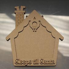 Sleeps Till Santa House Chalkboard Sign - Christmas Wooden Craft Blanks and Sign