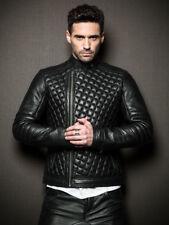 ROXA NEW Men Genuine Lambskin Real Motorcycle Slim Biker Quilted Leather Jacket