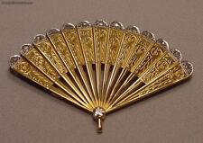 Unique Antique 18k Gold Platinum Diamonds Thirteen Fan Pendant Brooch