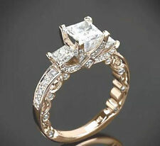 Silver White Princess cut Ring 2.83Ct NewThree-Stone Engagement 925 Sterling