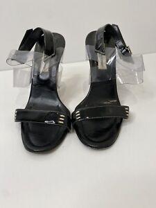 Manolo Blahnik Patent Open Toe Heels Size 40 VGUC