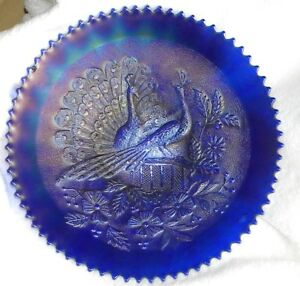 """CARNIVAL GLASS NORTHWOOD STIPPLED PEACOCKS ON THE FENCE BLUE 9"""" PLATE"""