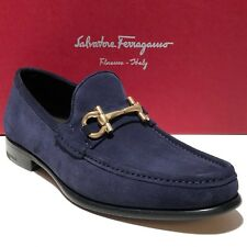 Salvatore Ferragamo Blue 9ee Suede Mason Gold Gancini Loafers Shoes Authentc
