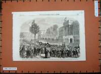 Original Old Antique Print King Leop1862 Brussels Palace 24Th Ult Street Scene