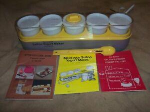 Salton Yogurt Maker With 5 Milk Glasses, Thermometer, Booklets, Model GM5 EUC