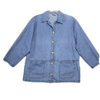 Crossroads Denim Chore Barn Shirt Jacket Womens L Med Blue Jean Side Vents Pckt