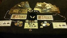 <43Pc.LOT>US& WORLD Coins&GOLD-Banknotes+Necklaces/SHARKTEETH+SILVER Bar &MORE!