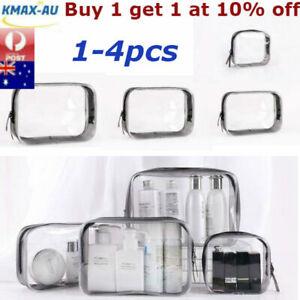 1-4Pcs Clear Transparent Plastic PVC Toiletry Bag Travel Cosmetic Make Up Zipper