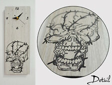 Wired Skull Engraved Wood - Wall Clock