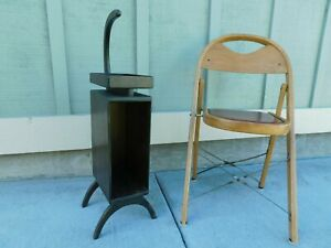 30s Antique Pipe Smoke Chairside Table Stand Art Deco Caddy Record Magazine Rack