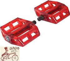 "ANIMAL BIKES HAMILTON TRAN RED 9/16"" 3-PIECE CRANK PLASTIC BMX BICYCLE PEDALS"