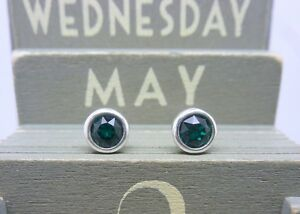 Silver Birthstone Earrings - May Emerald Green Made with Swarovski Crystal 925