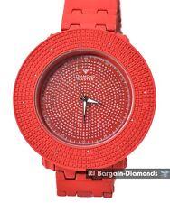 mens diamond ice out red watch 60 mm clubbing bezel deluxe link bracelet maxx